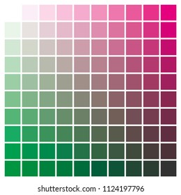 cmyk color chart to use in prepress and printing. Used to pick color swatches. green and magenta are base colors and others has been created combining them. tints and ink catalog for graphic arts