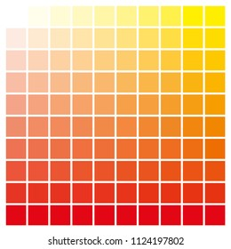 cmyk color chart to use in prepress and printing. Used to pick color swatches. Red and yellow are base colors and others has been created combining them. tints and ink catalog for graphic arts