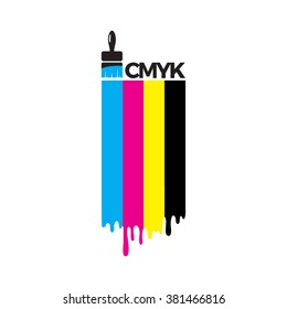 Cmyk color lines with brush