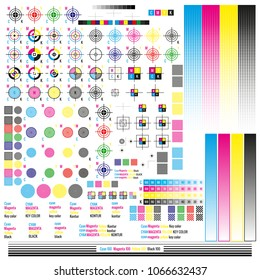 CMYK color management elements. Publishing graphic symbol utilities. Press mark. Calibration, cutting marks. EPS 10 vector file