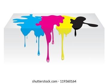 CMYK color paint spill dropping. Vector illustration isolated on white background