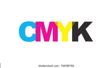 CMYK color text logo concept. Vector illustration.