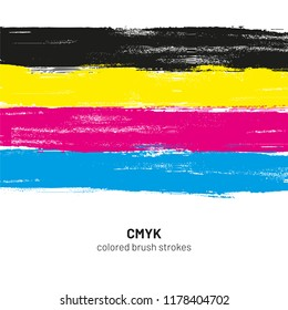 CMYK colored brush strokes vector illustration