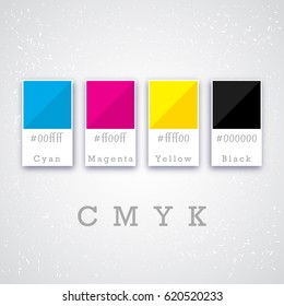 CMYK colors concept. Provider of printer ink and toner, letterpress printers. Keep printing!