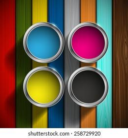 CMYK colors design. Paint buckets