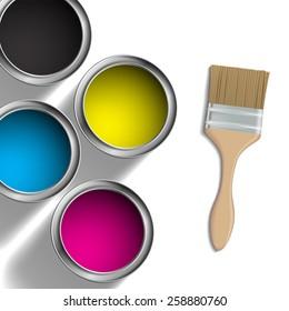 CMYK colors design. Pigment in buckets