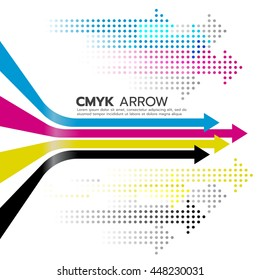 CMYK (cyan and magenta and yellow and key or black arrow line and dot arrow vector art design