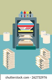 CMYK Four colored offset Roraty Printing Press machine used to print  thousands to millions of copies of daily newspaper. Editable EPS10 Vector and jpg.