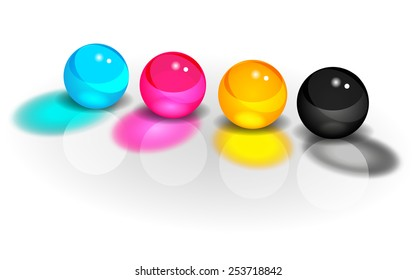 CMYK glass balls on a white background vector