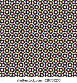 CMYK halftone seamless pattern. Colorful printed background.