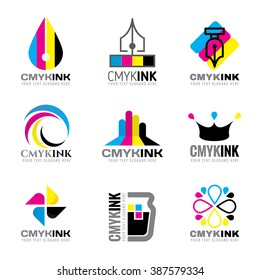 CMYK ink logo vector set design- cyan and magenta and yellow and key(black) color