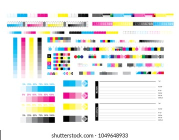 CMYK offset vector calibration printing marks, color bar CMYK and test vector document. Illustration of calibration color CMYK polygraphy for print and prepress balance ctp plate.