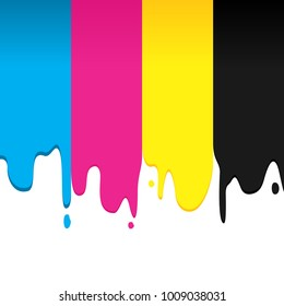 CMYK Paint Dripping Vector Graphic Background Design