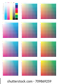 CMYK Press Color Chart. Vector color palette, CMYK process printing match. Color management, quality control in print production. For design, animation, and packaging when CMYK printing is required