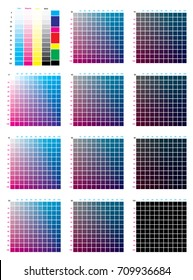 CMYK Press Color Chart. Vector color palette, CMYK process printing match. For digital design, animation, and packaging when CMYK printing is required