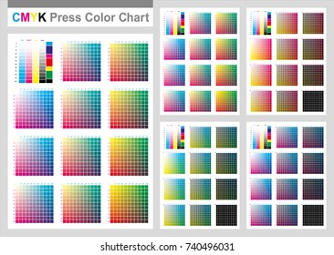 CMYK Press Color Chart. Vector color palette, CMYK process printing match. Cyan. Magenta. Yellow. Black. For digital design, animation, and packaging when CMYK printing is required