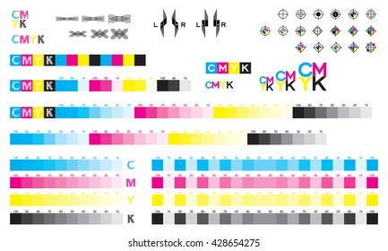CMYK press marks color bar