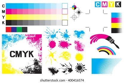 CMYK press marks (printing color test)