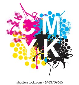 CMYK print colors expressive background.  CMYK cyan magenta yellow black inks and sign CMYK on white background. Concept for presenting color printing. Vector available.