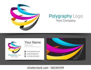 CMYK Printing Corporate Logo and Business Card Sign Template. Creative Design with Colorful Logotype Visual Identity Composition Made of Multicolored Element. Vector Illustration.