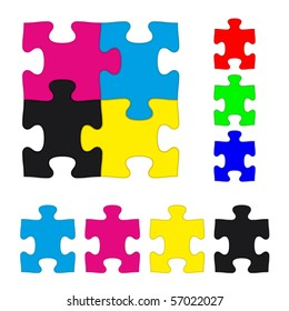 CMYK and RGB jigsaw puzzle pieces set