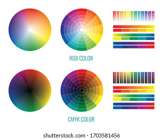 Cmyk rgb spectrum rainbow set with isolated round and stripe palettes for color selection graphic design vector illustration