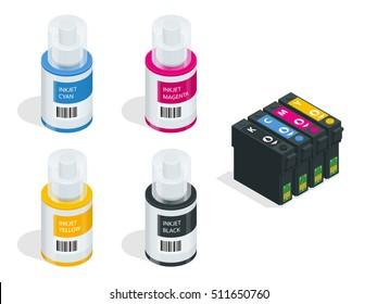CMYK set of cartridges for ink jet printer and color chart