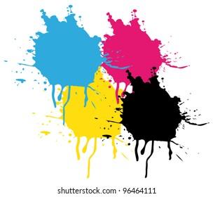 CMYK Splatters painting. Vector background.