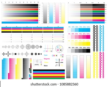 CMYK standard offset vector calibration printing marks, color bar CMYK and color test shart. Print control strips color cmyk polygraphy for print and prepress ctp plate, registration marks, cross.
