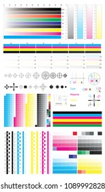 CMYK standard offset vector calibration printing marks, color bar CMYK and color test shart. Print control strips color cmyk polygraphy for print and prepress ctp plate, registration marks, cross.
