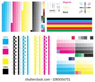 CMYK standard offset vector color bar and color test shart. Print control CMYK strips, registration marks, cross, calibration printing marks, color cmyk polygraphy for print and prepress ctp plate.