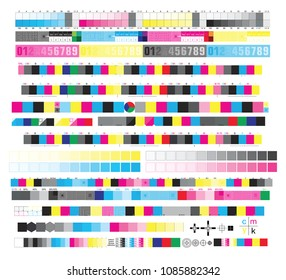 CMYK standard offset vector color bar and color test shart, print control CMYK strips, registration marks, cross, calibration printing marks, color cmyk polygraphy for print and prepress ctp plate.
