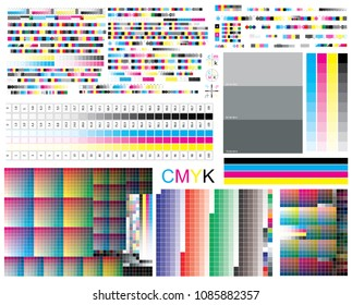 CMYK standard offset vector color bar CMYK and color test shart. Print control strips color cmyk polygraphy for print and prepress ctp plate, registration marks, cross, calibration printing marks.