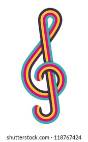 Cmyk treble clef. Vector illustration.