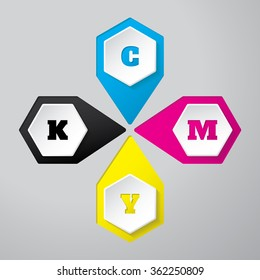 Cmyk wallpaper with 3d hexagon buttons on gray background