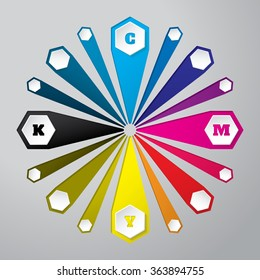 Cmyk wallpaper with 3d hexagon buttons and color combinations
