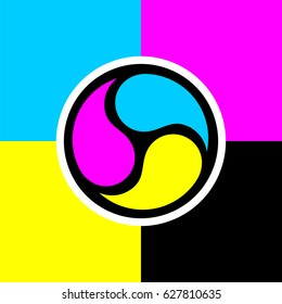 CMYK Yin yang sign isolated vector image