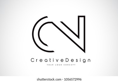 CN C N Letter Logo Design in Black Colors. Creative Modern Letters Vector Icon Logo Illustration.