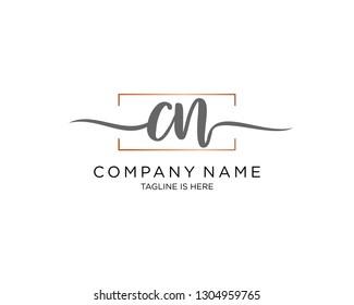 CN handwriting initial  logo vector