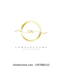 CN initial handwriting logo template vector