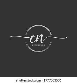 CN Initial handwriting logo vector