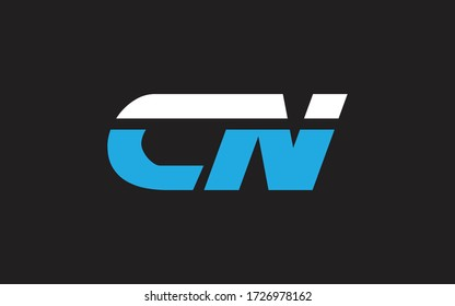 CN or NC Letter Initial Logo Design, Vector Template