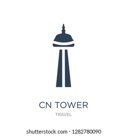cn tower icon vector on white background, cn tower trendy filled icons from Travel collection, cn tower vector illustration