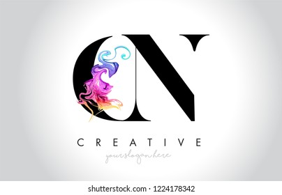 CN Vibrant Creative Leter Logo Design with Colorful Smoke Ink Flowing Vector Illustration.