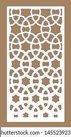 Cnc geometric template. Ratio 1:2. Laser pattern. Room partition screen and vector panel for laser cutting. Modern gradient design