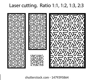 Cnc geometric template set for metal panels and screens .Geometric laser cutting vector pattern.