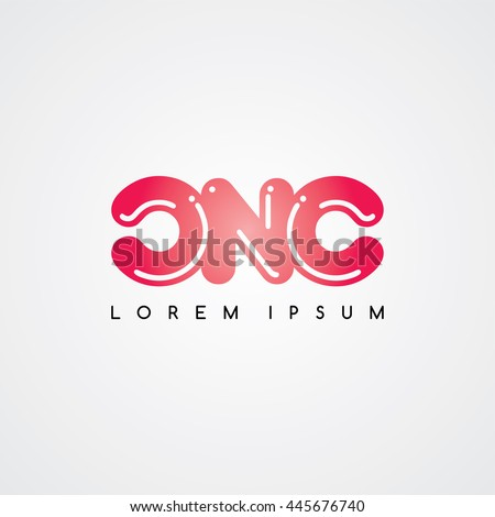 cnc initial letter linked uppercase logo stock vector royalty free