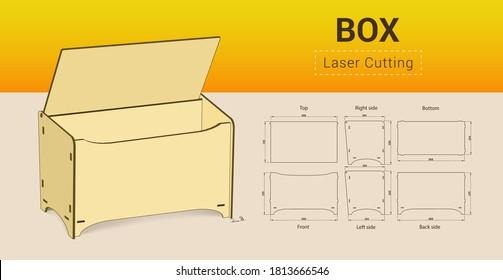 Cnc. laser cutting box. No glue. Vector illustration.