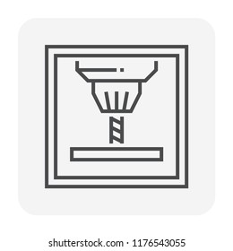 Cnc milling machine icon design, 80x80 perfect pixel and editable stroke.