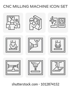 Cnc milling machine icon set.